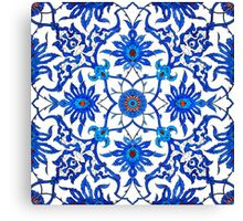 Art Nouveau Chinese Tile, Blue and White Canvas Print