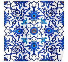 Art Nouveau Chinese Tile, Blue and White Poster