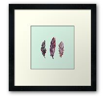 Watercolor feathers (mint green) Framed Print