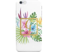 Tropical Floral With Gold Initial G iPhone Case/Skin