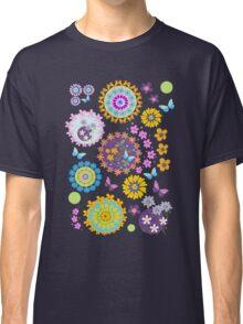 Flower circles and cute Butterflies Classic T-Shirt