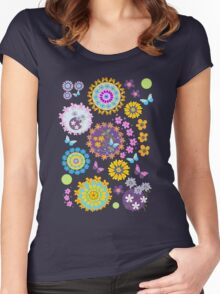 Flower circles and cute Butterflies Women's Fitted Scoop T-Shirt