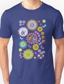 Flower circles and cute Butterflies T-Shirt