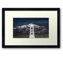Monument at Manzanar cemetery 2. Framed Print