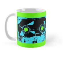 Blue Retro Cassette Tape on Bright Green Mug