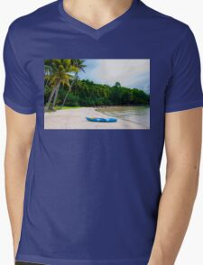 Exotic tropical beach with white sand and blue waters Mens V-Neck T-Shirt