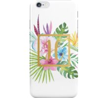 Tropical Floral With Gold Initial H iPhone Case/Skin
