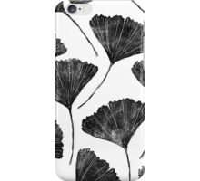 Lino cut printed pattern, nature inspired, handmade, black and white iPhone Case/Skin