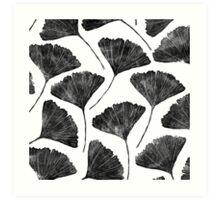 Ginkgo biloba, Lino cut nature inspired leaf pattern Art Print