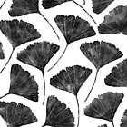 Ginkgo biloba, Lino cut nature inspired leaf pattern by emporiumjulium