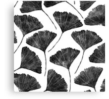 Ginkgo biloba, Lino cut nature inspired leaf pattern Canvas Print
