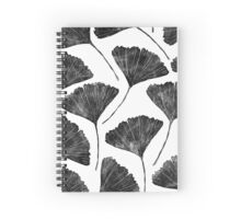 Lino cut printed pattern, nature inspired, handmade, black and white Spiral Notebook