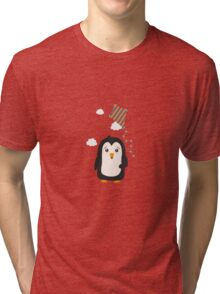 Penguin with Kite Tri-blend T-Shirt
