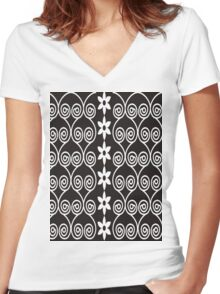 Black And White Decorative Floral Pattern Women's Fitted V-Neck T-Shirt