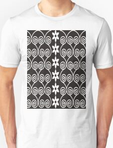 Black And White Decorative Floral Pattern Unisex T-Shirt