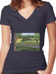 Bennington VT pond Women's Fitted V-Neck T-Shirt