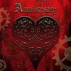 Owl Filigree Steampunk Fairytale Anniversary Card ~ Traditional Red Version by Sam Stormborn Ormandy