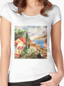 Italian landscape. Women's Fitted Scoop T-Shirt
