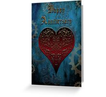 Owl Filigree Steampunk Fairytale Anniversary Card ~ Under The Ocean Blue Greeting Card