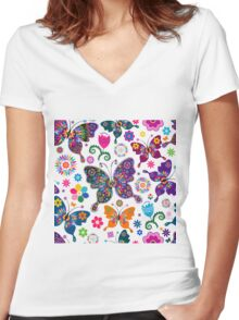Colorful Retro Butterfly's And Flowers Pattern Women's Fitted V-Neck T-Shirt