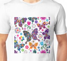 Colorful Retro Butterfly's And Flowers Pattern Unisex T-Shirt