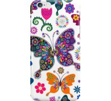 Colorful Retro Butterfly's And Flowers Pattern iPhone Case/Skin