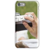 woamn holding camera iPhone Case/Skin