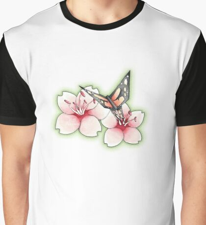 Cherry Blossom with Origami Butterfly Graphic T-Shirt