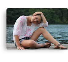 portrait of young beautiful calm female  Canvas Print