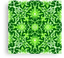 Art Nouveau Chinese Tile, Lime Green Canvas Print