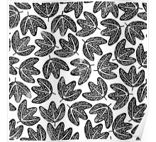 Lino cut printed pattern, nature inspired, handmade, black and white Poster