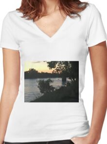 BY the river  Women's Fitted V-Neck T-Shirt