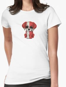 Cute Patriotic Danish Flag Puppy Dog Womens Fitted T-Shirt