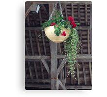 Flower Basket in Old Market France Canvas Print