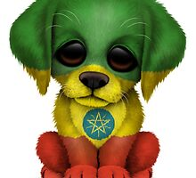Cute Patriotic Ethiopian Flag Puppy Dog by Jeff Bartels