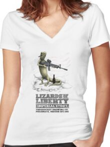 Lizards of Liberty Imperial Stout Women's Fitted V-Neck T-Shirt