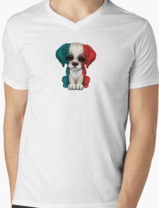 Cute Patriotic French Flag Puppy Dog Mens V-Neck T-Shirt
