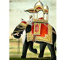 Vintage Decorated Elephant With Howdah Painting Photographic Print