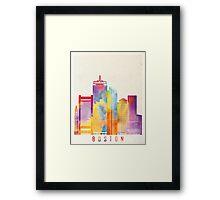 Boston landmarks watercolor poster Framed Print