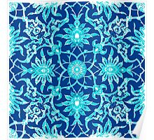Art Nouveau Chinese Tile, Turquoise and Blue Poster