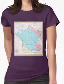 Vintage Map of France (1793) Womens Fitted T-Shirt
