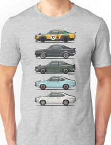 Stack of Mazda Savanna GT RX-3 Coupes Unisex T-Shirt