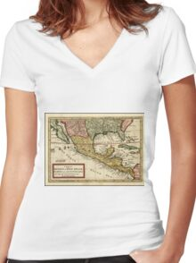 Vintage Map of Mexico (1708) Women's Fitted V-Neck T-Shirt