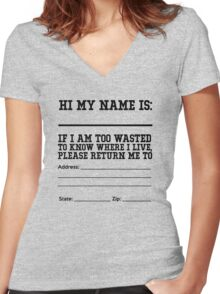 Hi my name is ___. If I am too wasted to know where I live, please return me to  Women's Fitted V-Neck T-Shirt