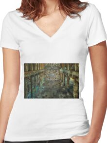Apocalyptic Vision of the Sistine Chapel Rome 2020 Women's Fitted V-Neck T-Shirt
