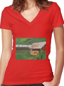 Vermont, red barn Women's Fitted V-Neck T-Shirt