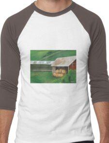 Vermont, red barn Men's Baseball ¾ T-Shirt