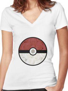 Pokemon Pokeball Roses Women's Fitted V-Neck T-Shirt