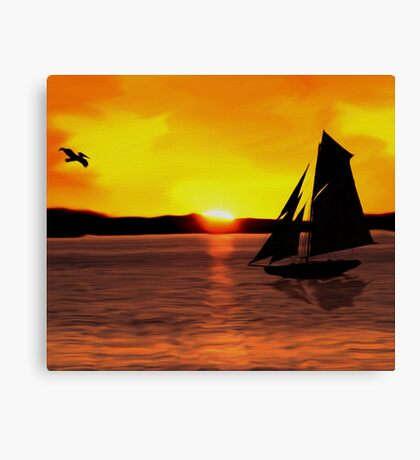 Sunset Boating Canvas Print