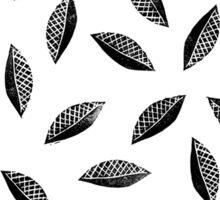 Lino cut printed pattern, nature inspired, handmade, black and white Sticker